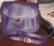 Purple Leather Handbag Front Small