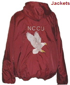 NCCU Hooded Nylon Coaches Jackets Back - Small