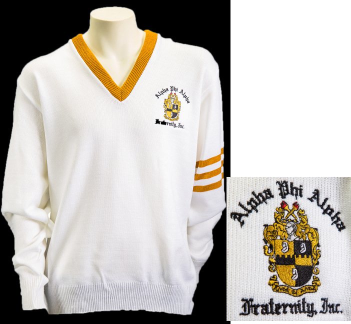 Alpha White Vneck Sweater with Crest