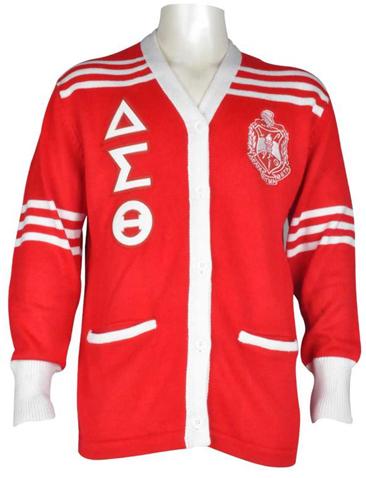 Delta cardigan sweater w leather letters 2570 hbcu - Delta sigma theta sorority cardigans ...