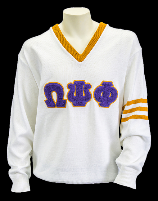 Omega White Vneck Sweater 3 Letters