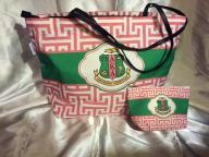 AKA_Pink_and_Green_Shield_Tote_Clutch_CO